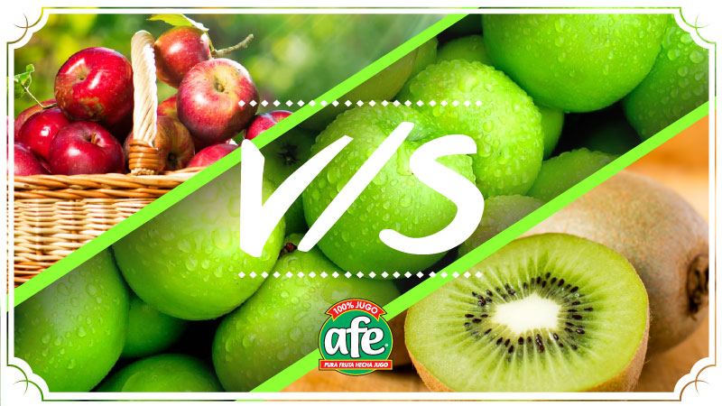 Manzana roja vs manzana verde vs kiwi