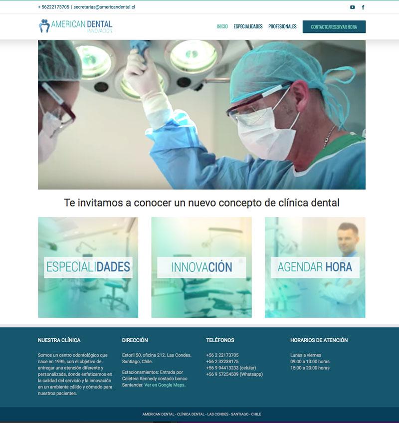 Sitio web American Dental - Sociable